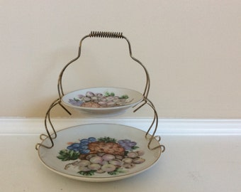 Really Pretty Two Tier Tea Time Tidbit Plates with Wire/Metal Caddy.