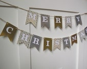 Gold and Silver Merry Christmas Banner- Christmas Party, Photo Prop