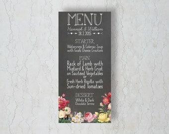 Floral Chalkboard Menu