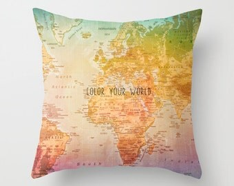 World Map Pillow, Color your world, Colorful Art, Home Decor, Map, Colors, Continents, Colorful World, Colorful Pillow, Map Pillow
