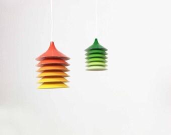 1 of 2 original vintage 70s ikea design hanging lamp light lamp | orange yellow red | bent gantzel-boysen | midcentury modern | eames panton