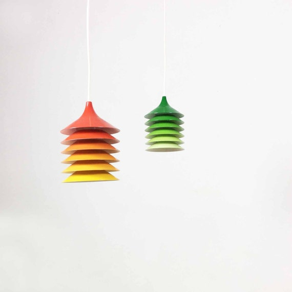 1 original vintage 70s ikea design hanging lamp light lampe orange yellow red bent - Suspension Origami Ikea