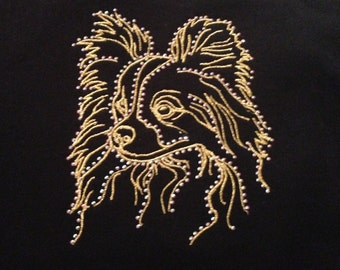 Embroidered Papillon with Bling on Long Sleeve Tee Accented with Swarovski Crystals
