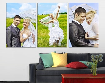 Canvas Cluster, Wedding Anniversary Phot print, Gift for Couples, Canvas Print, Print on Canvas,  3- Panel Canvas Wall Art, Room Decoration