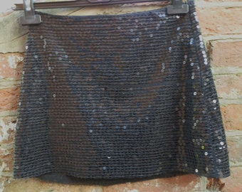 Vintage Black Mini Skirt With Sequins UK Size 6/8