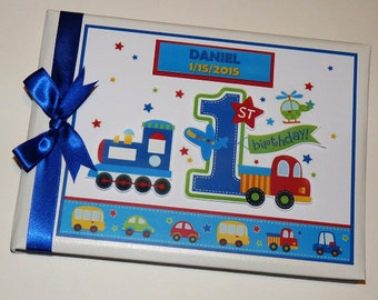 All Aboard Birthday Guest Book Personalised Memory Book '1st Birthday' - any design