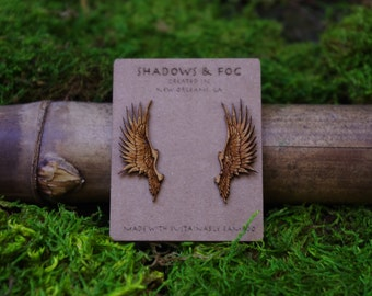dragon wing laser cut bamboo stud earrings