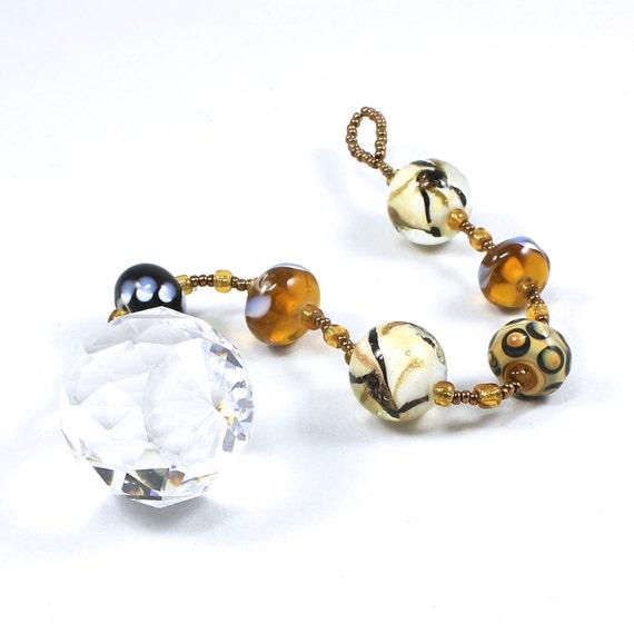 Handmade Beaded Window Crystal Rainbow Prism Suncatcher Designer Asfour 30mm Crystal Gold Black Lampwork Beads