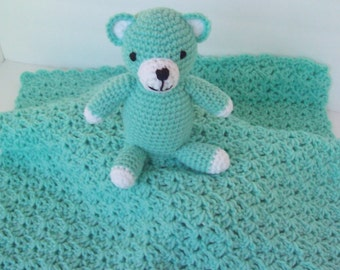 Baby blanky with attached teddy bear, aqua, crocheted.   FREE SHIPPING!