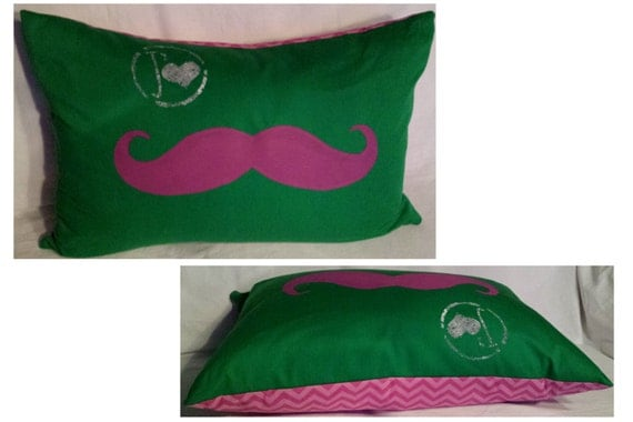 Pillow cover   Love Mustache pinkPink Mustache Cover Photo