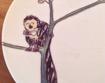 Margo the Monkey: Illustrated ceramic plate