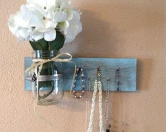Choose your color  Key holder with mason jar vase, jewelry holder with decorative wall vase, necklace holder, entry way shelf