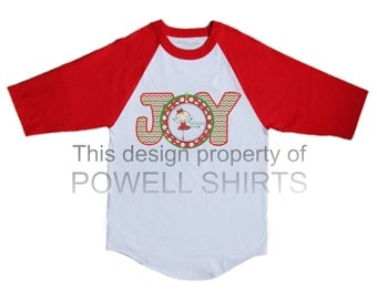 Personalized Custom Christmas Holiday Girl's Ballet/Ballerina Raglan 3/4 sleeve T shirt with Chevron Joy with Ballerina and Name any color