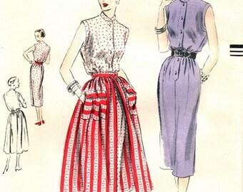 Vogue 7275 Magnifique Chemise Dress & Detachable Overskirt 1950 / SZ12 FACTORY FOLDS