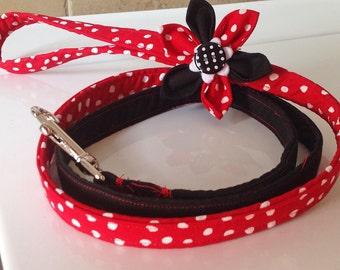 Red and Black Polka Dot Dog Leash