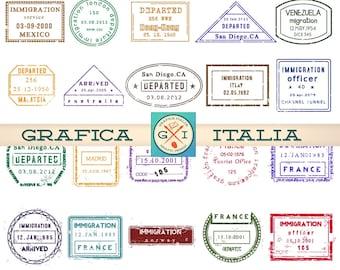 30 International PASSPORT STAMPS -  Digital Printable Collage Sheet - Vintage Travel Clipart - Instant Download Scrapbooking - PS-001