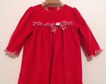 Vintage Inspired Peaches n Cream Toddlers Dress in Red with Plaid Ribbon Detail by Peaches n Cream in Size 12 Months