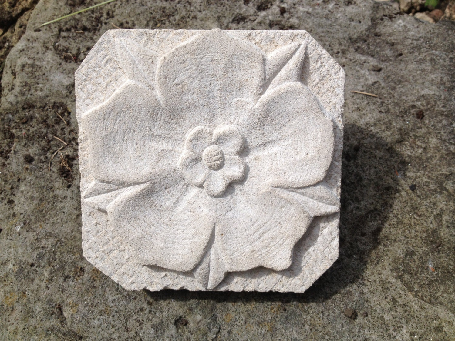 Yorkshire rose relief carving wall plaque