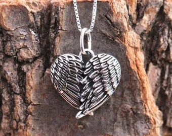 On sale!!! 10% off Sterling Silver Embraced Angel Wings Love Heart Pendant Necklace Antiqued&3D Lucky Charm Birthday Bift Comes with Gift Bo