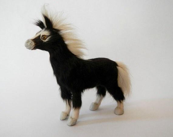 Vintage Pony Horse African Taxidermy Real Fur Hide Pelt Mini