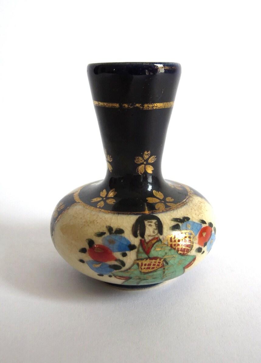 Vintage Japanese Miniature Vase Hand Painted China Porcelain