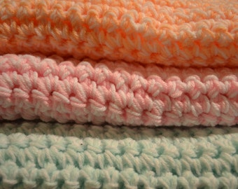 "Cozy crocheted baby ""blankies"""