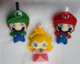 Super Mario Plushie Characters: Mario, Luigi, Princess Peach