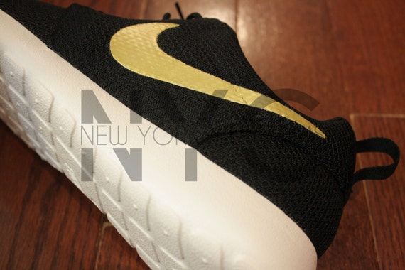 04388e0f96 OVO Nike Roshe Run Black White GOLDEN TOUCH Gold by NYCustoms on sale