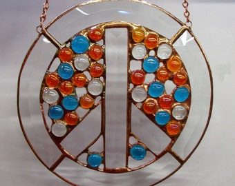 Groovy PEACE SIGN Stained Glass Panel with bevels and colorful glass globs