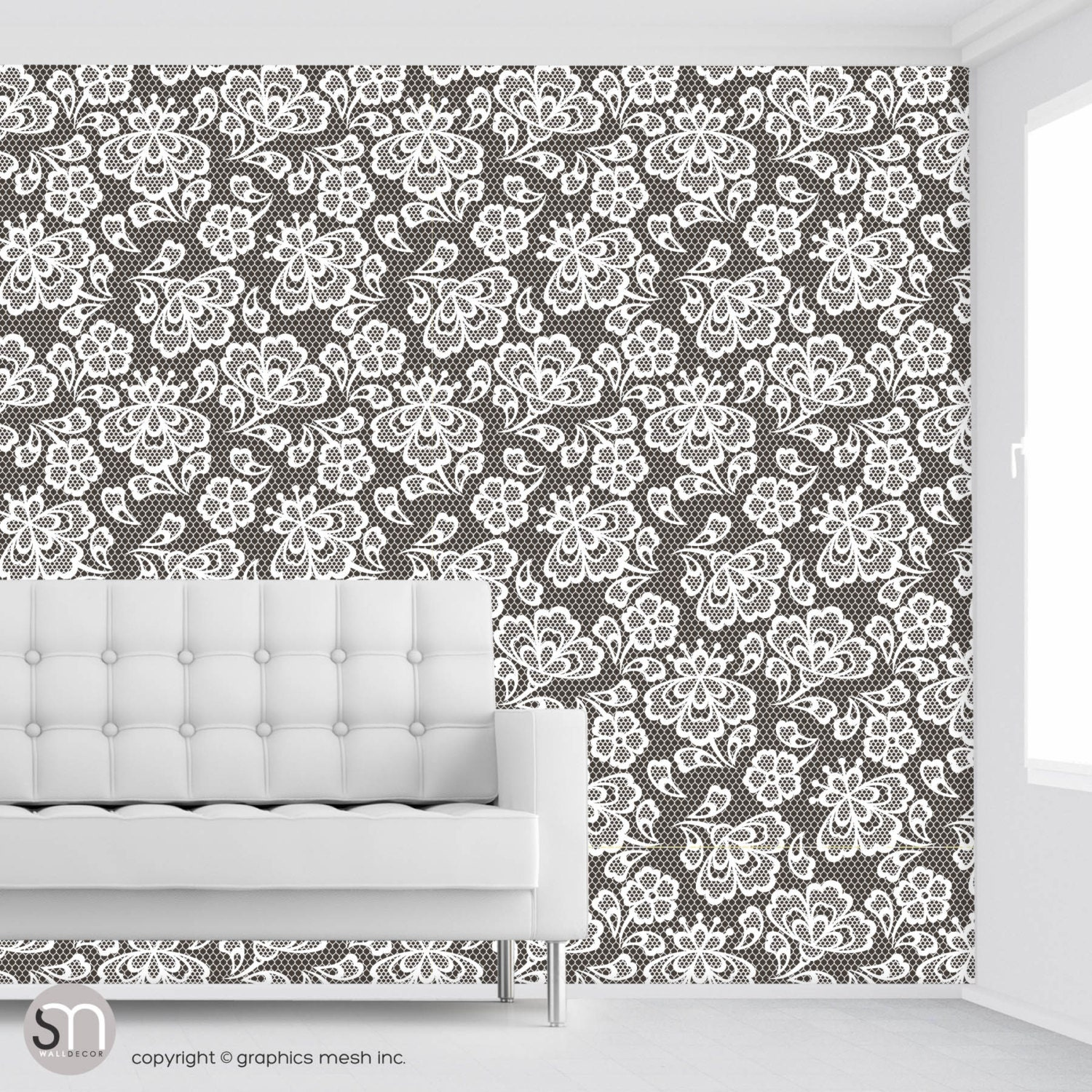 Dark Embroidery Self Adhesive Removable Fabric Wallpaper By