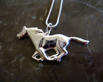 Sterling Silver Running Horse Pendant and Chain