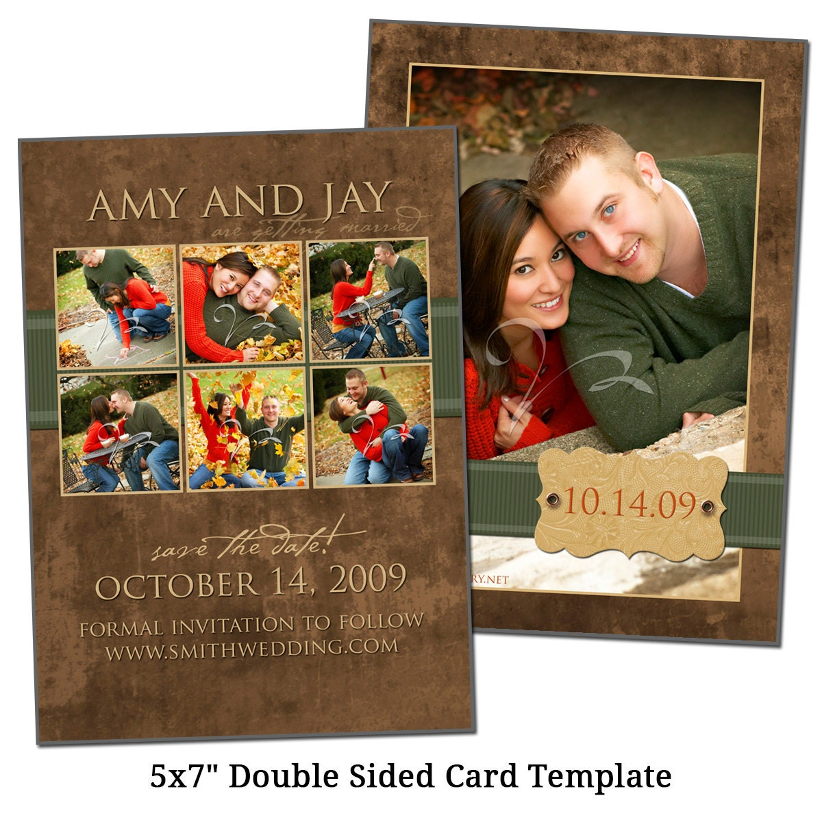 5x7 thank you card template green ribbon digital file. Black Bedroom Furniture Sets. Home Design Ideas