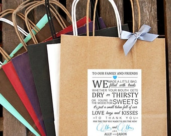 Personalized Love, Hugs and Kisses Wedding Welcome Bag