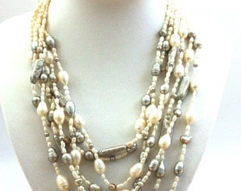 White and Grey Fresh Water Pearls Silver Necklace,  7 Strands Pearl Silver Necklace, Multi Strands Pearl Necklace