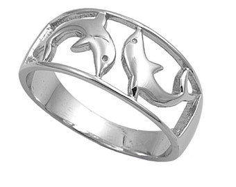 Dolphin Ring 9MM Sterling Silver 925