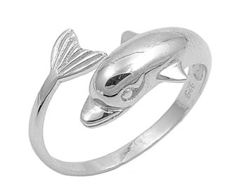 Dolphin Ring 14MM Sterling Silver 925
