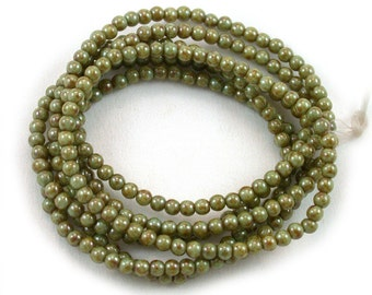 Light Olive Green w/ picasso 3mm druks. Set of 50, 100 or 200.