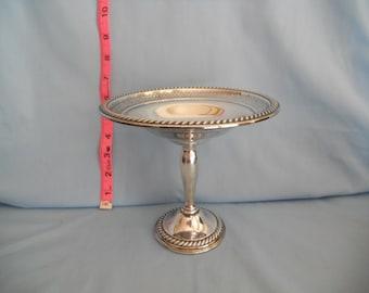 International Silver sterling candy dish.  T207. Pedestal dish.  Pierced design.  Vintage.