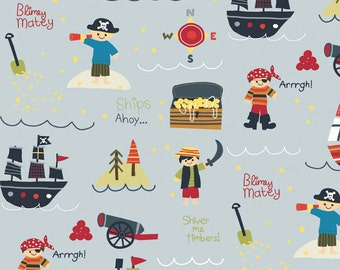 Riley Blake Treasure Map Pirates Grey (Half metre)