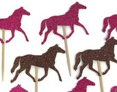 horse cupcake toppers, derby bridal shower, rodeo birthday party, baby shower, cowboy, cowgirl, western, wedding, Custom Colors, 12 pieces