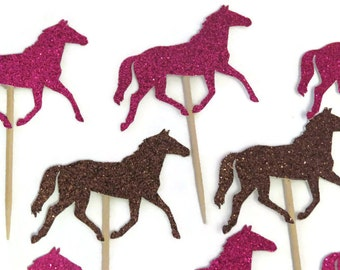 horse cupcake toppers, derby bridal shower, ready in 3 to 5 weekdays, rodeo birthday party, baby shower, cowgirl, western, wedding, 12CT