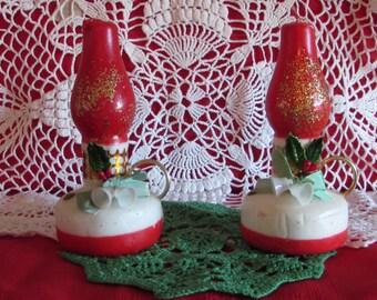Delayed Shipping until Feb 28 Christmas Lantern Candles, Vintage Tavern Novelty Candles, Christmas Decor, 50s Holiday Decor