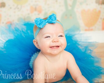 Turquoise Baby Tutu and Headband Set, Dark Blue Baby Tutu, Tulle Tutu For Babies & Headband, Handmade Turquoise Green Blue Little Girl Tutu