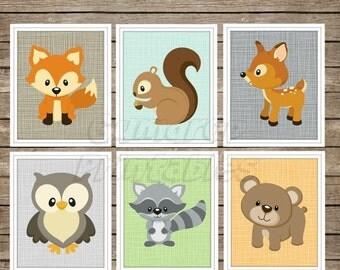 Woodland Animals Wall Art Digital Prints ~ Choose Your Own ~ Nursery Decor ~ Digital Download ~ Woodland Fox Owl Bear Raccoon