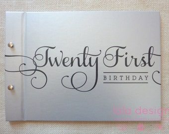"Guest Book A5 Silver ""21st Birthday Flourish"" for Birthdays, Celebrations and Parties"