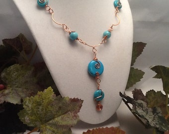 Copper wire linked necklace with turquoise howlite beads