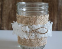 Half Pint Size Twine Lace Mason Jar Country Chic Wedding Decor, Home Decoration