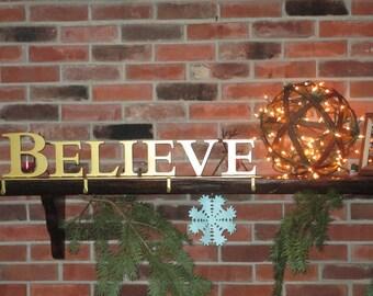 Believe Stocking Hanger / Stocking Holder / Mantel Decoration / Christmas / Holiday / Decor / Metal / Gold