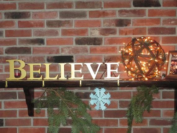 Believe stocking hanger holder mantel decoration