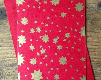 Christmas Card ~ Gold Stars on Red